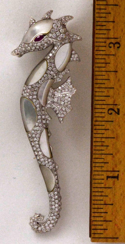 18 Karat White Gold Seahorse Abalone Shell 2.50 Carat Diamonds Brooch 1