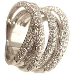 18 Karat White Gold Seven-Row Micro Pave Diamond Ring