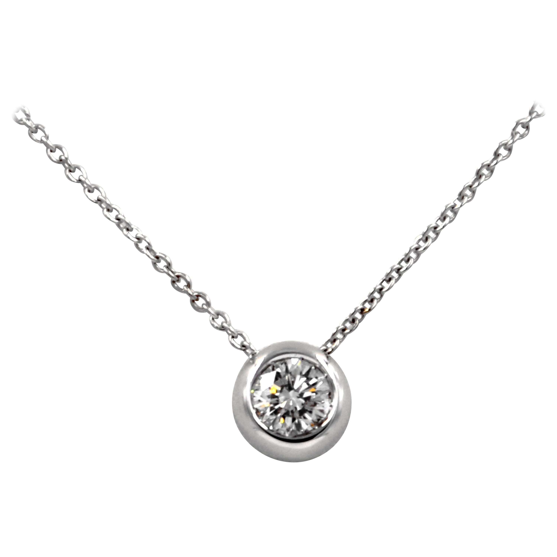 18 Karat White Gold Single White Diamond Garavelli Giotto Necklace