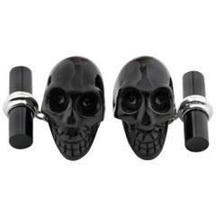 18 Karat White Gold Skull Black Onyx Cufflinks