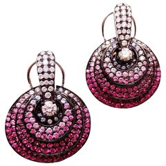 18 Karat White Gold Small Circle Earrings with Ruby, Pink Sapphire and Diamond