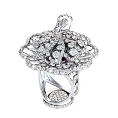 18 Karat White Gold Small Cocktail Fancy Ballerina Ring