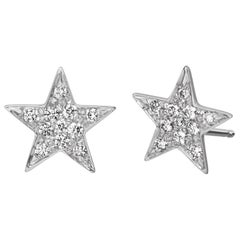 18 Karat White Gold Small Pave Star Studs