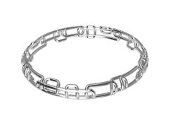 18 Karat White Gold Soft Rectangles Bangle Bracelet