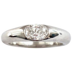 18 Karat White Gold Solitaire Oval Diamond Ring