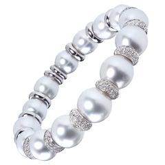 18 Karat White Gold South Sea Pearl and Diamond Bangle Bracelet