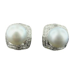18 Karat White Gold South Sea Pearl and Diamond Earrings