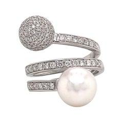 18 Karat White Gold South Sea Pearl & Diamond Ball Ring 1.05 Carats