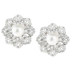 18 Karat White Gold South Sea Pearl Diamond Earrings