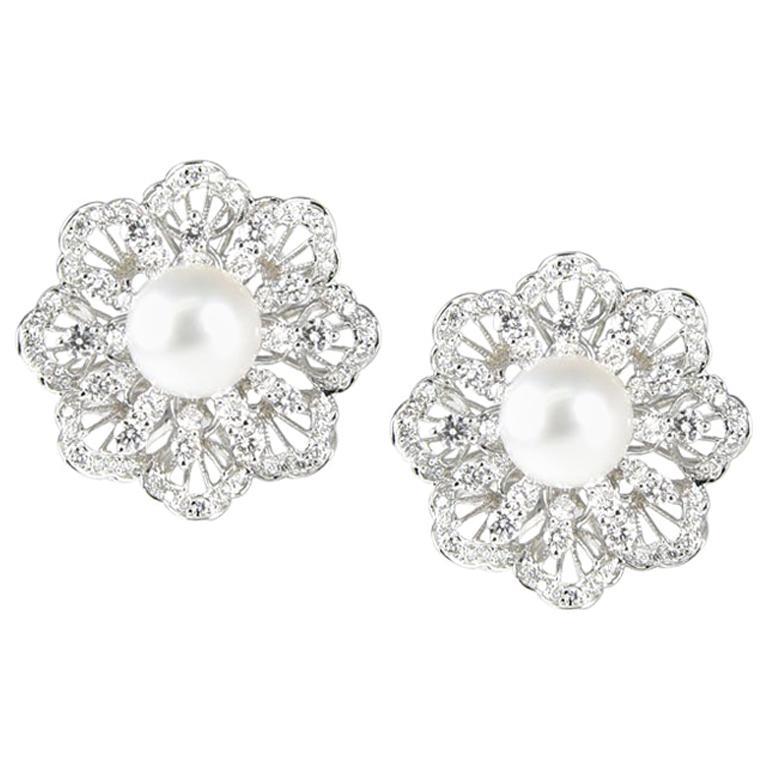 18 Karat White Gold South Sea Pearl Diamond Earrings For Sale