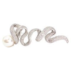 18 Karat White Gold South Sea Pearl and Diamond Large Swirl Brooch