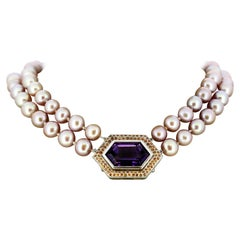 18 Karat White Gold South Sea Pearl Necklace with Brooch Pendant