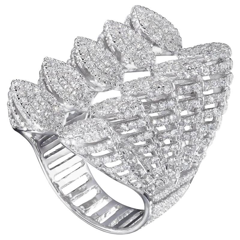 18 Karat White Gold Spine Diamond 5-Branches Ring