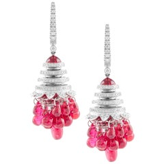 18 Karat White Gold Spinel and Diamond Earrings