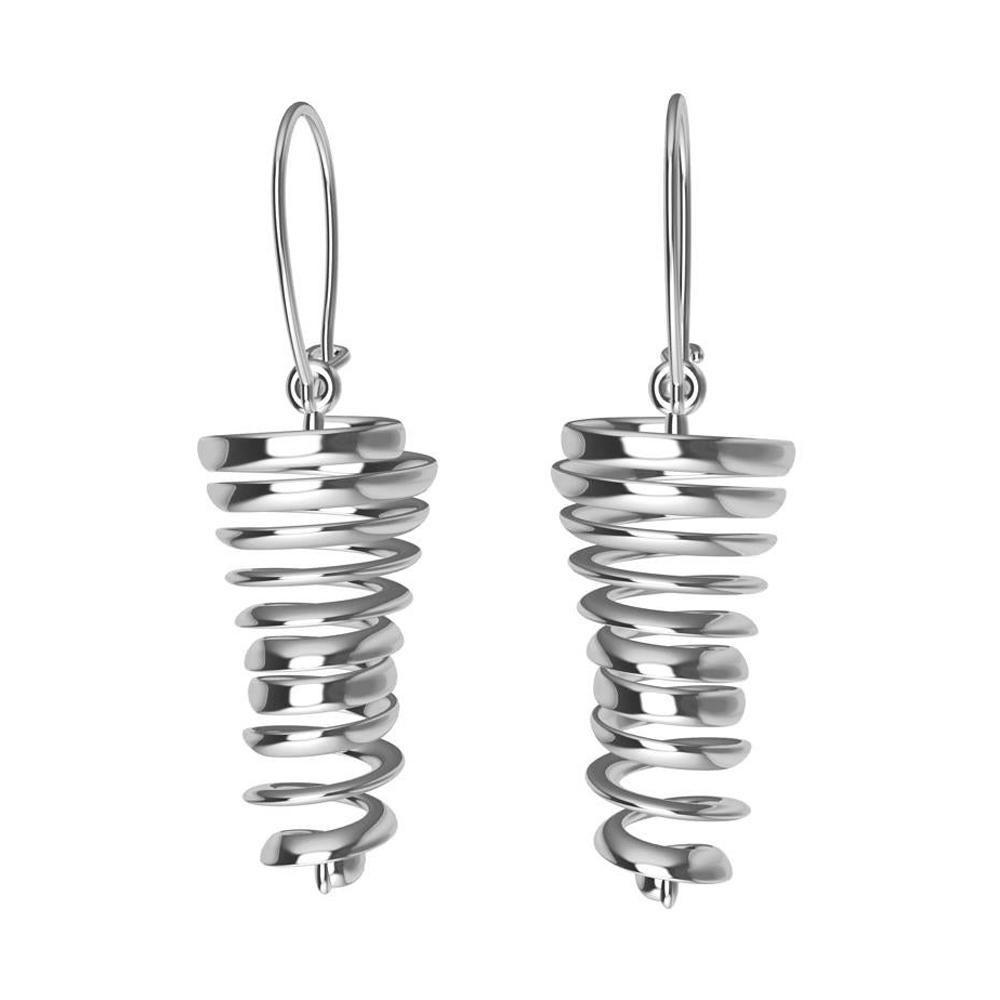 18 Karat White Gold Spiral Dangle Earrings