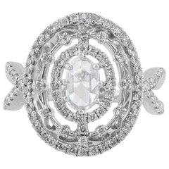 18 Karat White Gold Split Shank Oval Diamond Ring