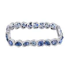 18 Karat White Gold Square Bangle with Blue Sapphires
