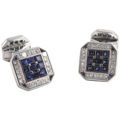 18 Karat White Gold Square Cufflinks with Diamonds and Sapphires