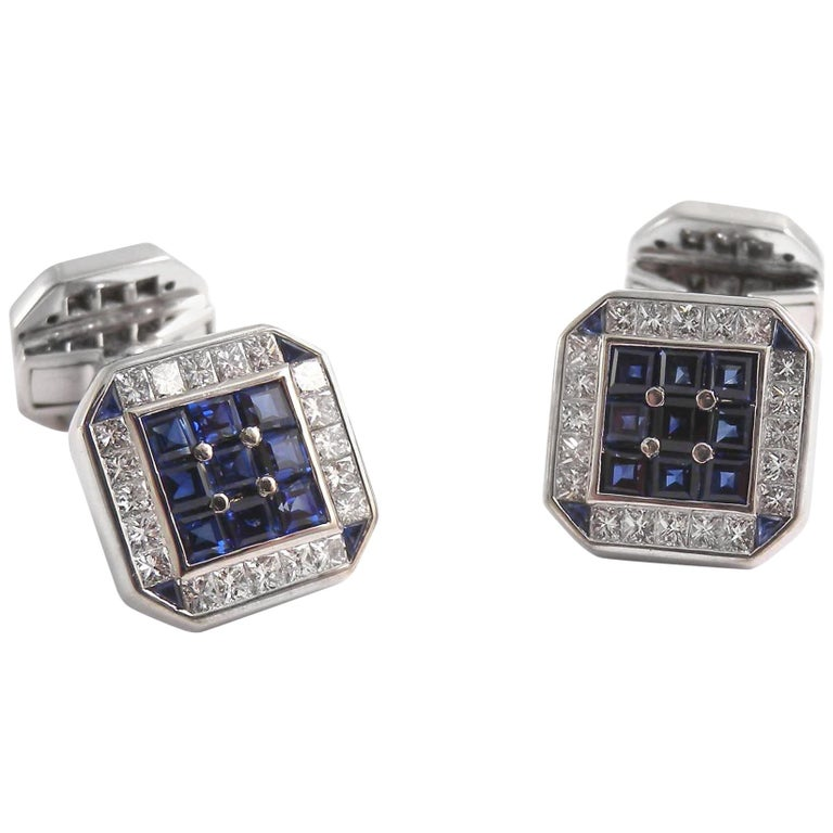 18 Karat White Gold Square Cufflinks with Diamonds and Sapphires For Sale