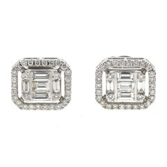 18 Karat White Gold Square Diamond Stud Earrings