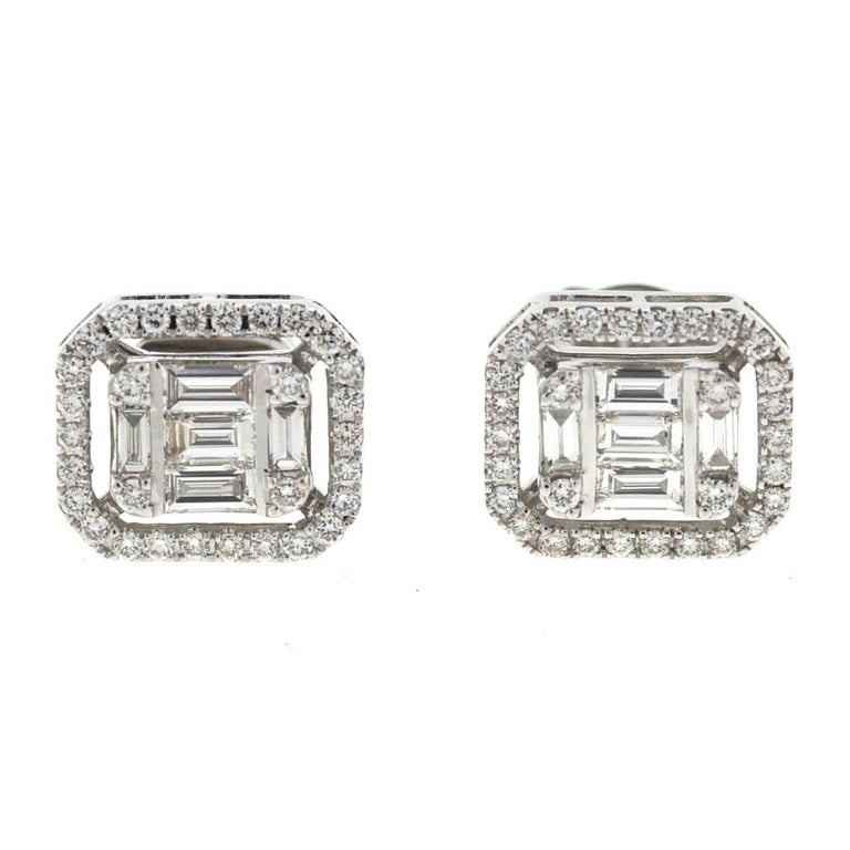 18 Karat White Gold Square Diamond Stud Earrings