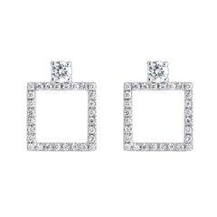 18 Karat White Gold Square with 58 White Diamonds 0.60 Carat Set Stud Earrings