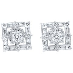 18 Karat White Gold Square Shaped Diamond Stud Earrings 0.77 Carat