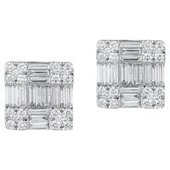 18 Karat White Gold Square-Shaped Earrings with 70 Diamonds