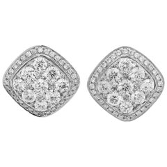18 Karat White Gold Square Stud Earrings with Round Diamonds