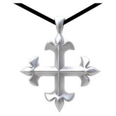18 Karat White Gold St. Mary's Fleur-di-Lys Pendant Necklace