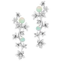 18 Karat White Gold Star Jasmine Vine Earrings with Diamond and Opal Flowers