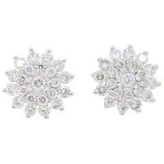 18 Karat White Gold Starburst Diamond Stud Earrings