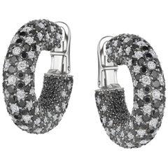 18 Karat White Gold Starlight Black and White Diamond Galaxy Hoop Earrings