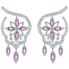 18 Karat White Gold Stella Pink Sapphire and Diamond Earrings