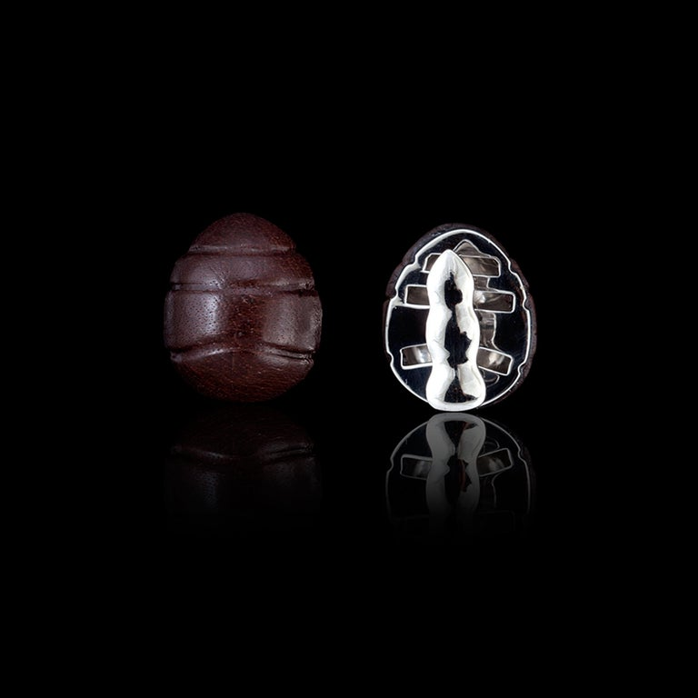 Contemporary 18 Karat White Gold, Sterling Silver and Leather Wood Ant Cufflinks For Sale