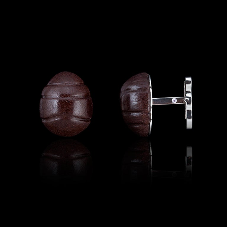 Round Cut 18 Karat White Gold, Sterling Silver and Leather Wood Ant Cufflinks For Sale