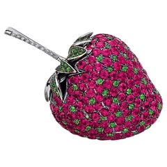 18 Karat White Gold Strawberry Brooch with 10.30 Carat Rubies, Tsav and Diamonds