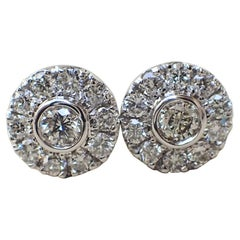 18 Karat White Gold Stud Earrings are Set with 0.42 Carat of Diamond