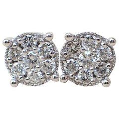18 Karat White Gold Stud Earrings Set with 0.75 Carat of Diamond, Illusion Set