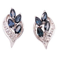 18 Karat White Gold Stud Earrings with Sapphires and Diamonds