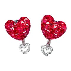 18 Karat White Gold Stud Ruby Big Heart Earrings