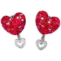 18 Karat White Gold Stud Ruby Big Heart Earrings