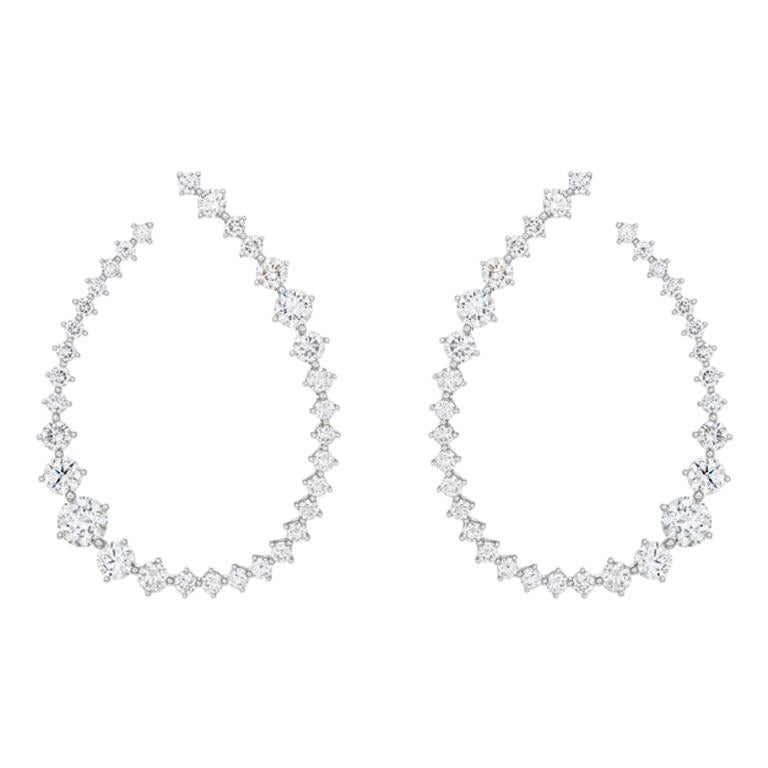 18 Karat White Gold Swing Diamond Medium Hoop Earrings