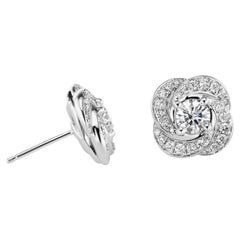 18 Karat White Gold Swirl Diamond Studs