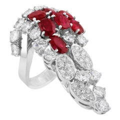 Tabah of Switzerland 18 Karat White Gold Ruby Diamond Cluster Ring