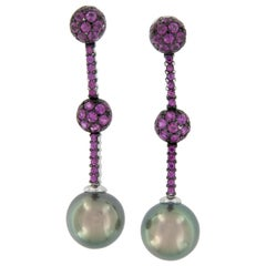 18 Karat White Gold Tahitian Pearl and Pink Sapphire Drop Earrings