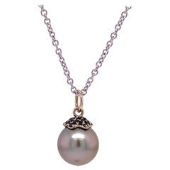 18 Karat White Gold Tahitian Pearl Pendant with Round Black Diamonds