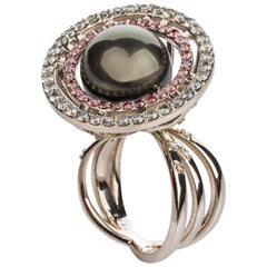 18 Karat White Gold Tahitian Pearl Ring with a Double Sapphire Halo and Diamonds