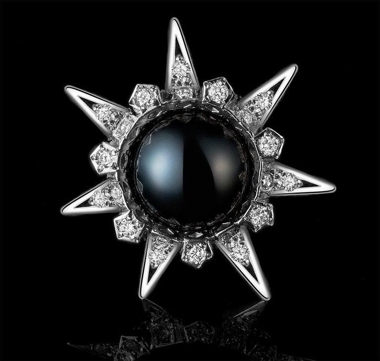 Modern 18 Karat White Gold Tahitian Pearls and Diamonds Stud Earrings For Sale