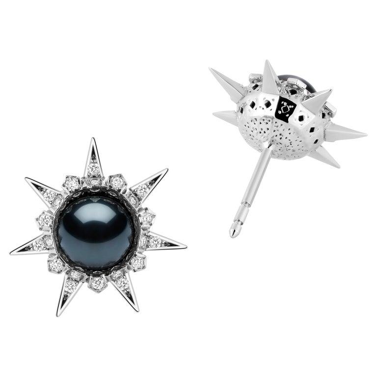 18 Karat White Gold Tahitian Pearls and Diamonds Stud Earrings For Sale